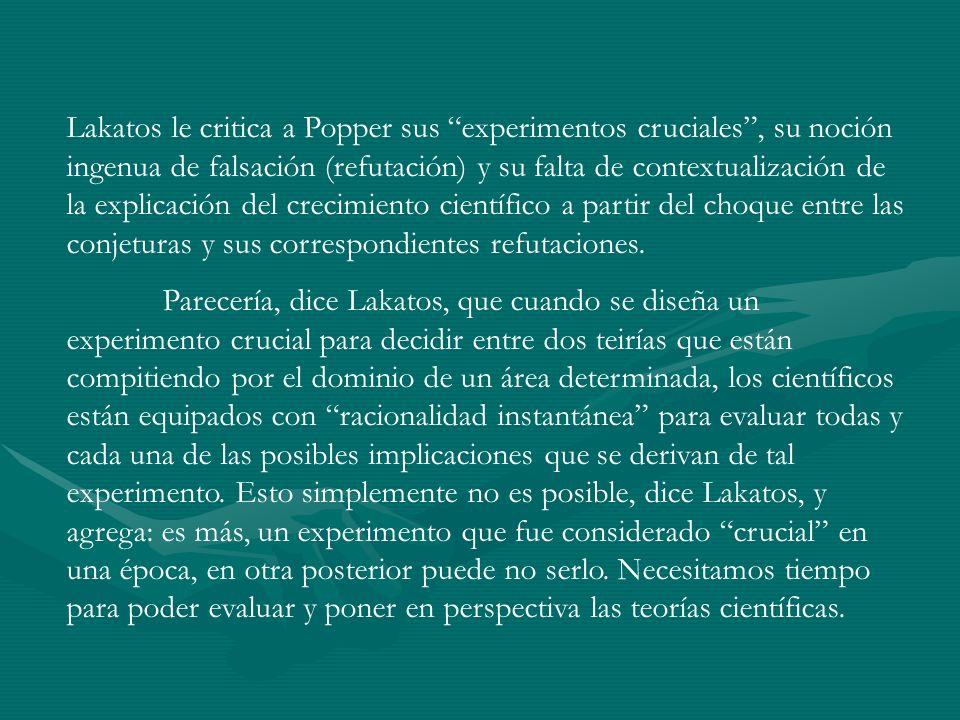 Lakatos le critica a Popper sus experimentos cruciales , su noción ingenua de falsación (refutación) y su falta de contextualización de la explicación del crecimiento científico a partir del choque entre las conjeturas y sus correspondientes refutaciones.
