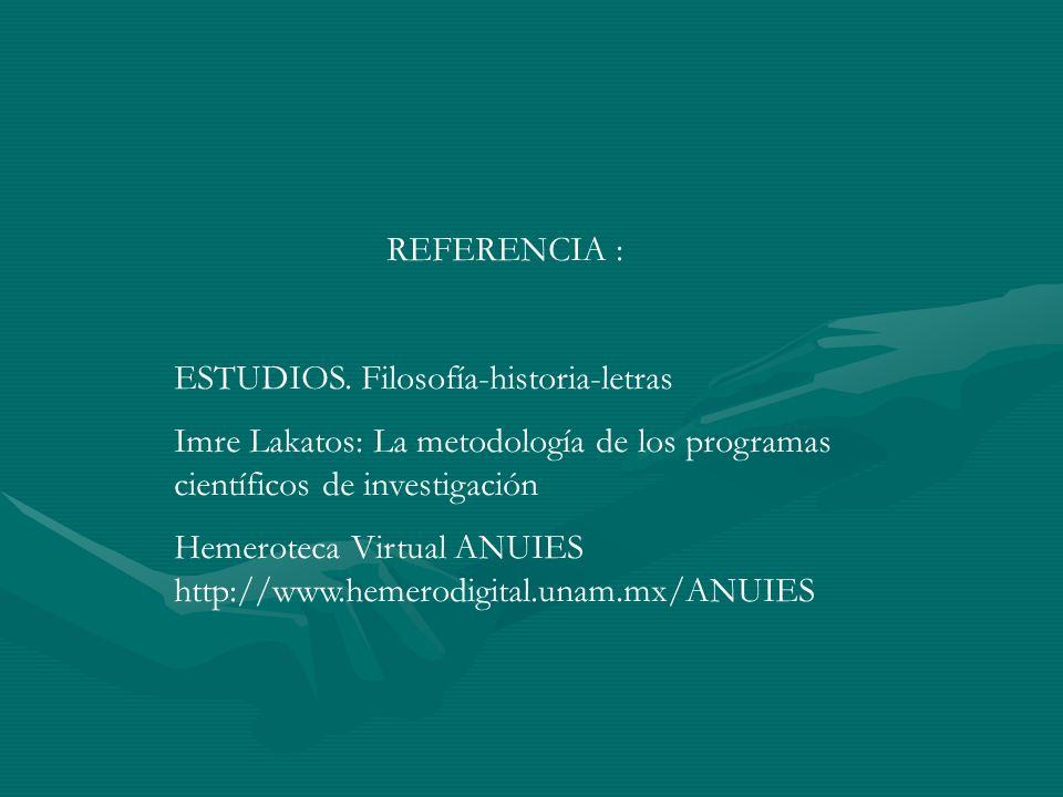 REFERENCIA :ESTUDIOS. Filosofía-historia-letras. Imre Lakatos: La metodología de los programas científicos de investigación.