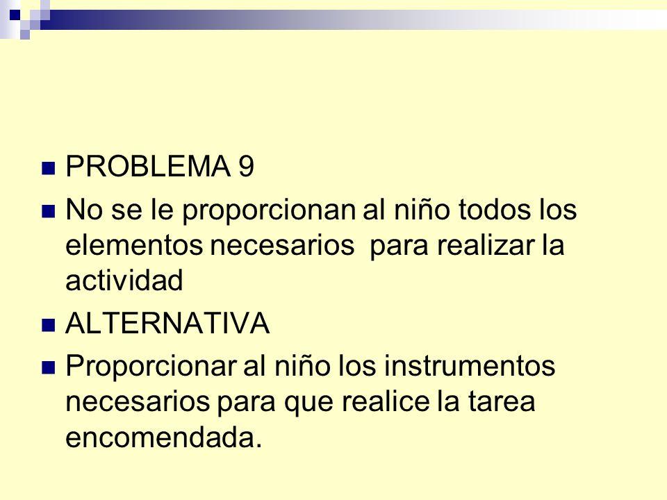 PROBLEMA 9 No se le proporcionan al niño todos los elementos necesarios para realizar la actividad.