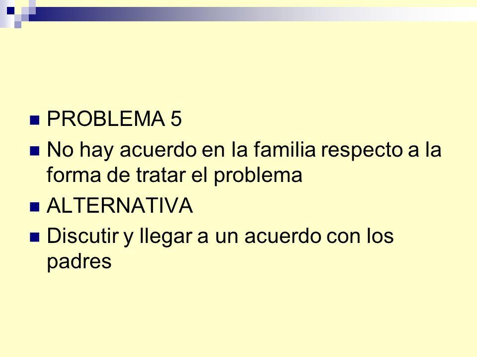 PROBLEMA 5 No hay acuerdo en la familia respecto a la forma de tratar el problema.