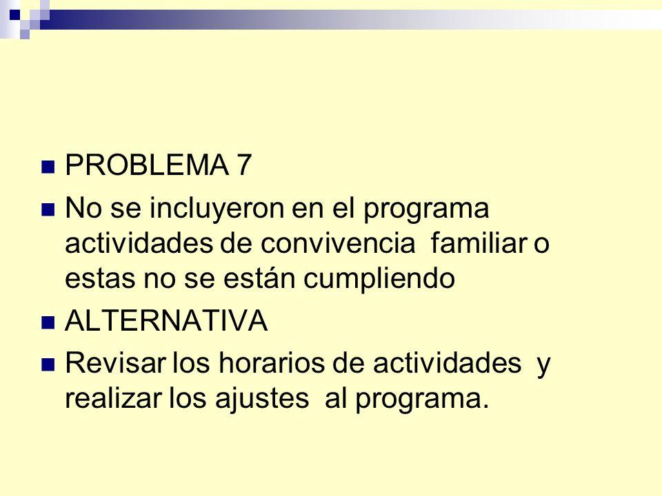 PROBLEMA 7 No se incluyeron en el programa actividades de convivencia familiar o estas no se están cumpliendo.