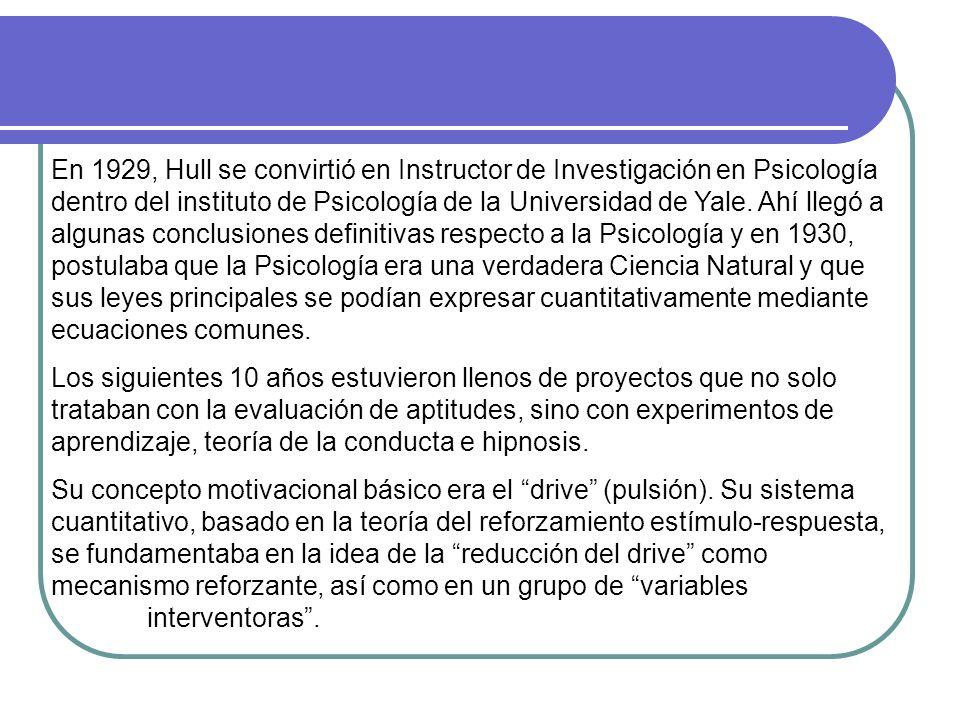 En 1929, Hull se convirtió en Instructor de Investigación en Psicología dentro del instituto de Psicología de la Universidad de Yale. Ahí llegó a algunas conclusiones definitivas respecto a la Psicología y en 1930, postulaba que la Psicología era una verdadera Ciencia Natural y que sus leyes principales se podían expresar cuantitativamente mediante ecuaciones comunes.