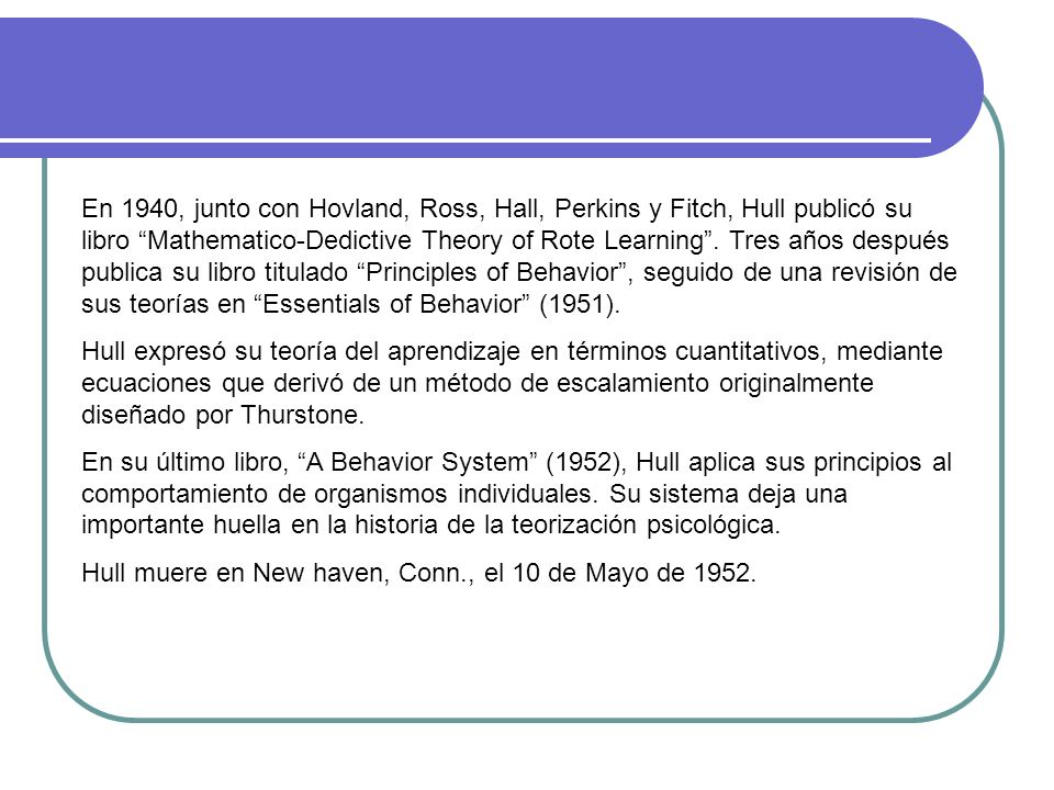 En 1940, junto con Hovland, Ross, Hall, Perkins y Fitch, Hull publicó su libro Mathematico-Dedictive Theory of Rote Learning . Tres años después publica su libro titulado Principles of Behavior , seguido de una revisión de sus teorías en Essentials of Behavior (1951).