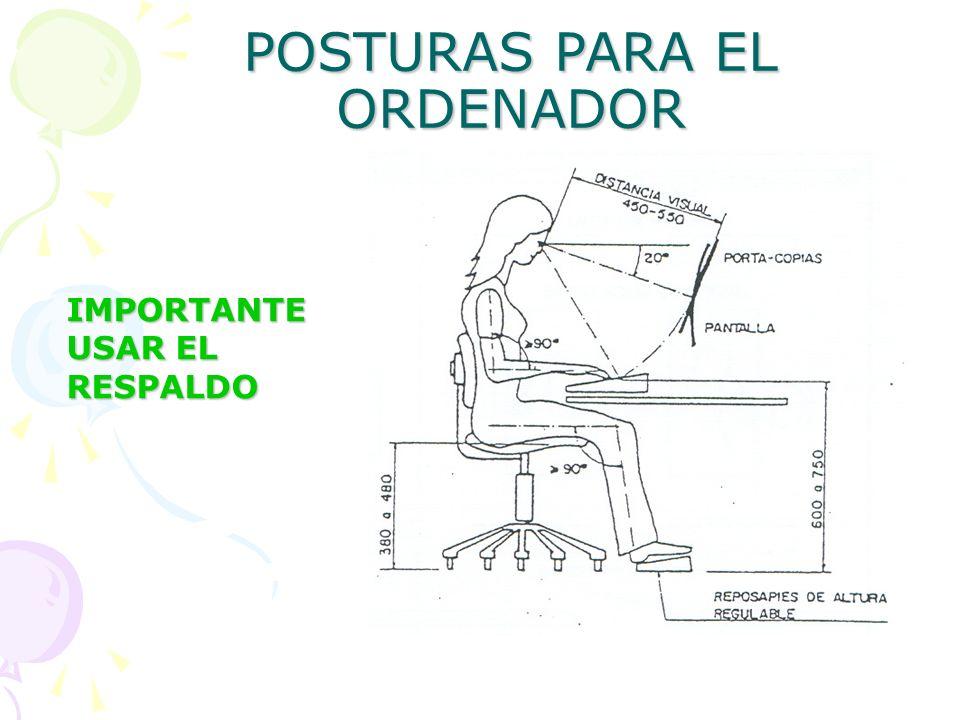 POSTURAS PARA EL ORDENADOR