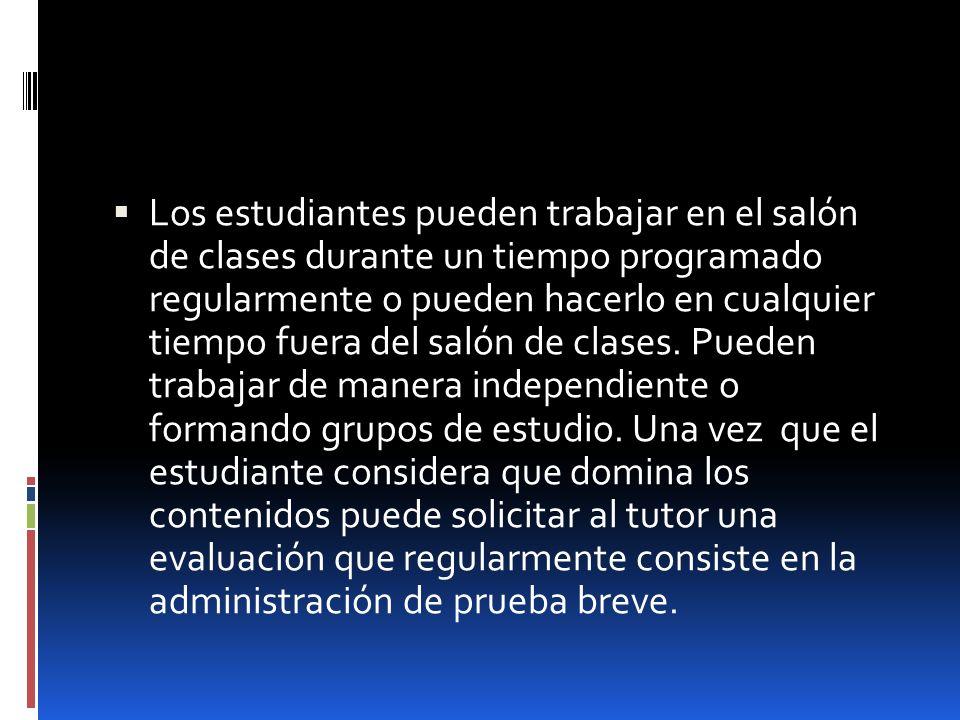 Los estudiantes pueden trabajar en el salón de clases durante un tiempo programado regularmente o pueden hacerlo en cualquier tiempo fuera del salón de clases.