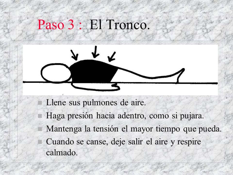 Paso 3 : El Tronco. Llene sus pulmones de aire.