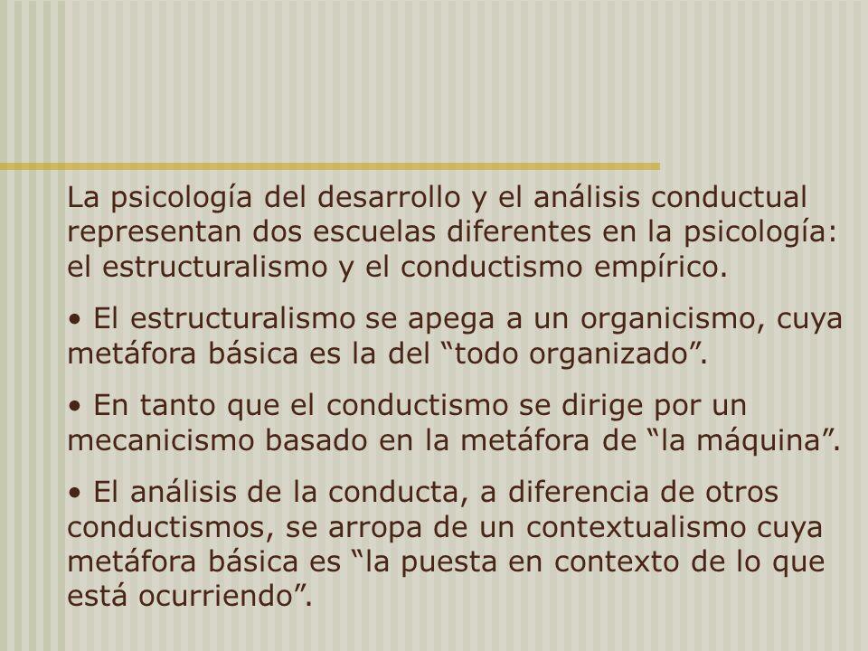 La psicología del desarrollo y el análisis conductual representan dos escuelas diferentes en la psicología: el estructuralismo y el conductismo empírico.