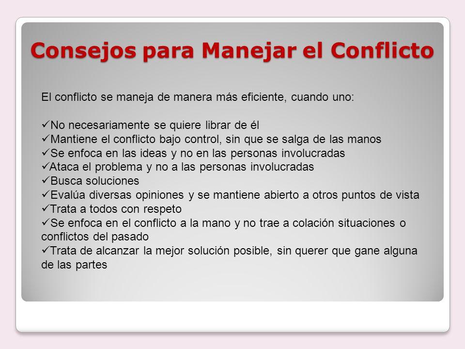 Consejos para Manejar el Conflicto