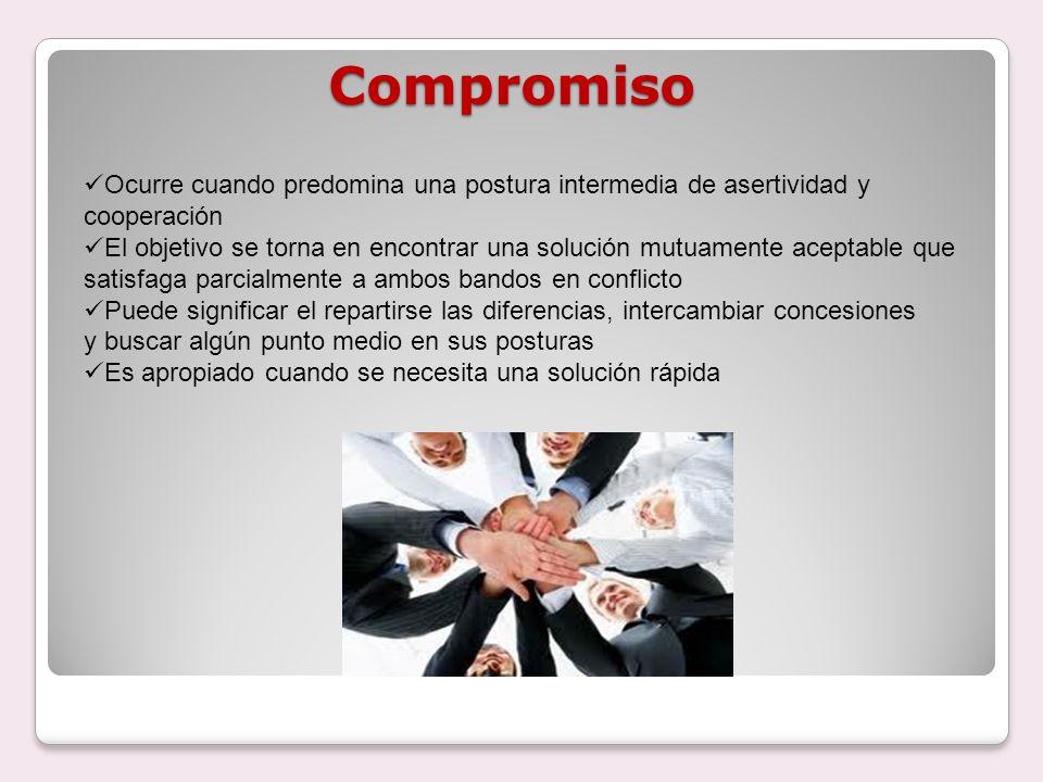 Compromiso Ocurre cuando predomina una postura intermedia de asertividad y cooperación.