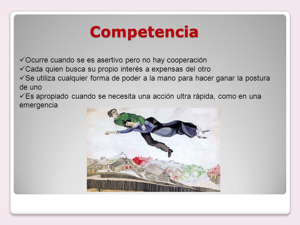 Competencia Ocurre cuando se es asertivo pero no hay cooperación