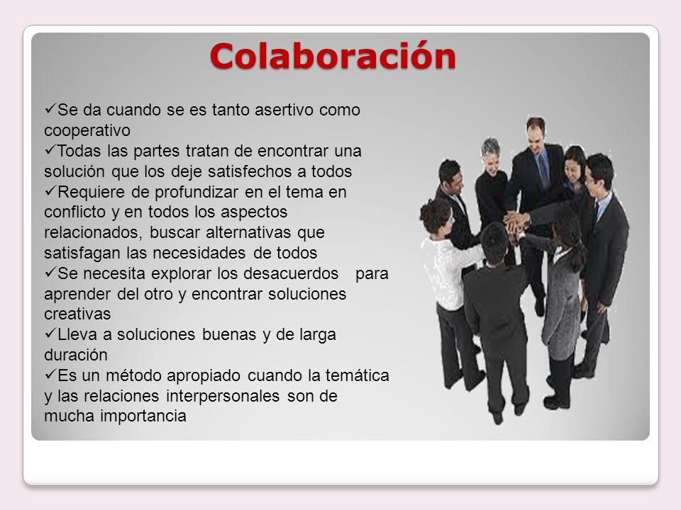 Colaboración Se da cuando se es tanto asertivo como cooperativo