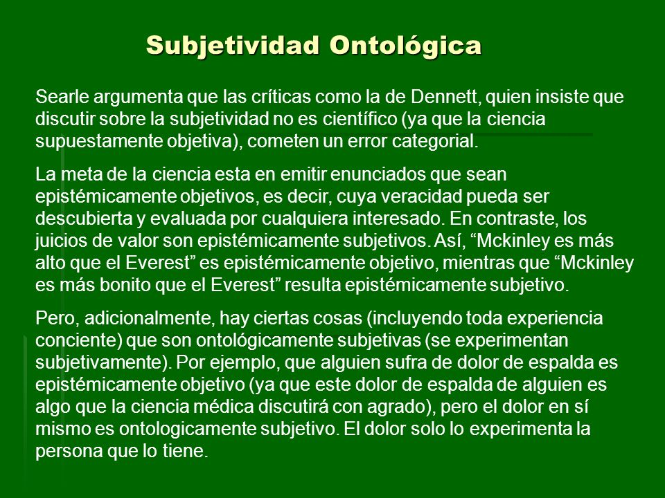 Subjetividad Ontológica