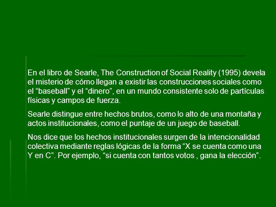 En el libro de Searle, The Construction of Social Reality (1995) devela el misterio de cómo llegan a existir las construcciones sociales como el baseball y el dinero , en un mundo consistente solo de partículas físicas y campos de fuerza.