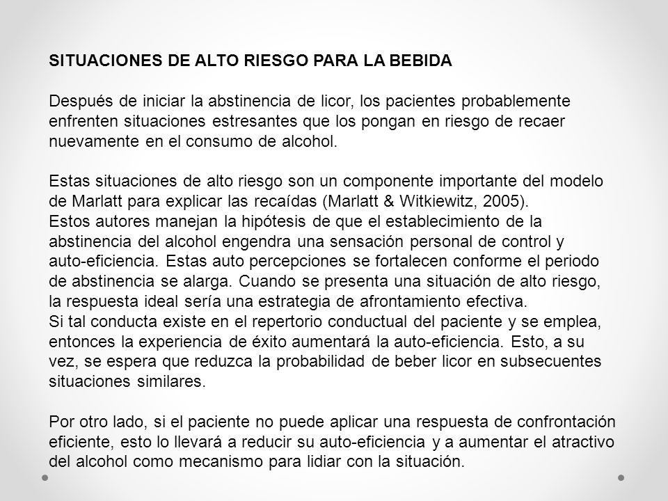 SITUACIONES DE ALTO RIESGO PARA LA BEBIDA