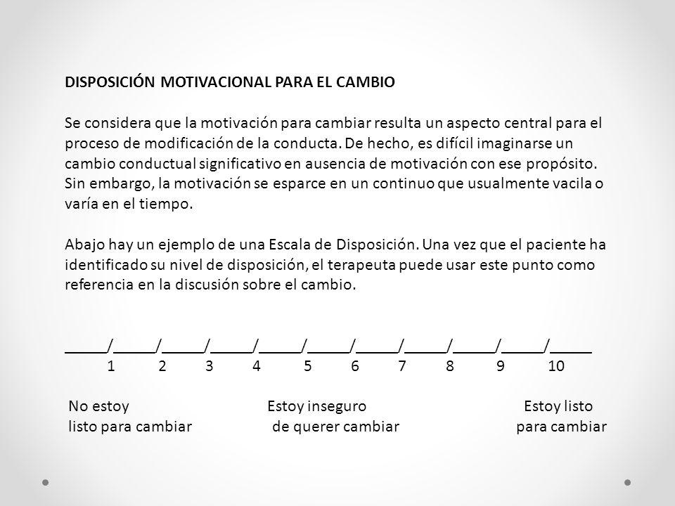 DISPOSICIÓN MOTIVACIONAL PARA EL CAMBIO