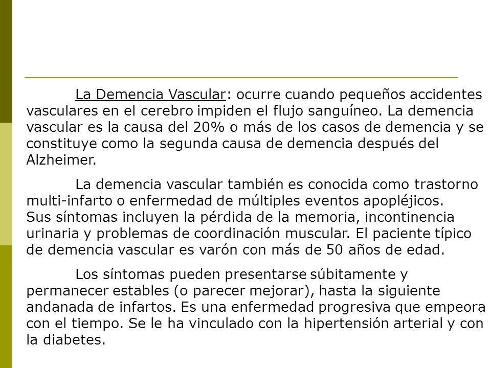 La Demencia Vascular: ocurre cuando pequeños accidentes vasculares en el cerebro impiden el flujo sanguíneo. La demencia vascular es la causa del 20% o más de los casos de demencia y se constituye como la segunda causa de demencia después del Alzheimer.