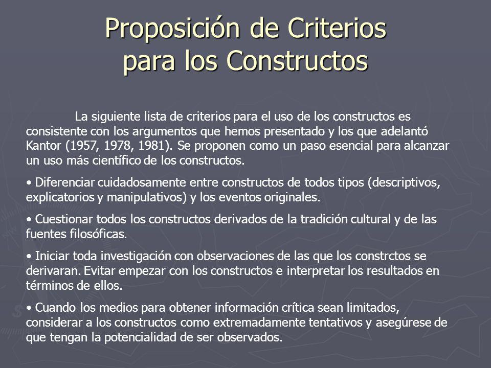 Proposición de Criterios para los Constructos