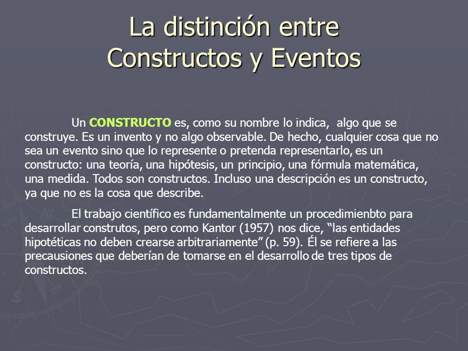 La distinción entre Constructos y Eventos