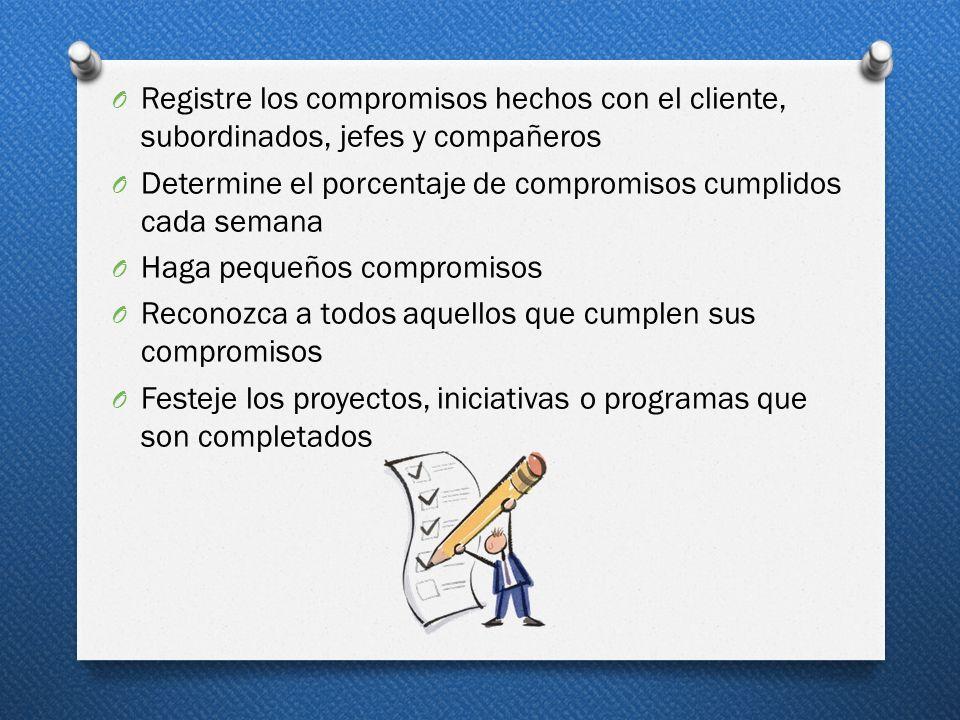 Registre los compromisos hechos con el cliente, subordinados, jefes y compañeros