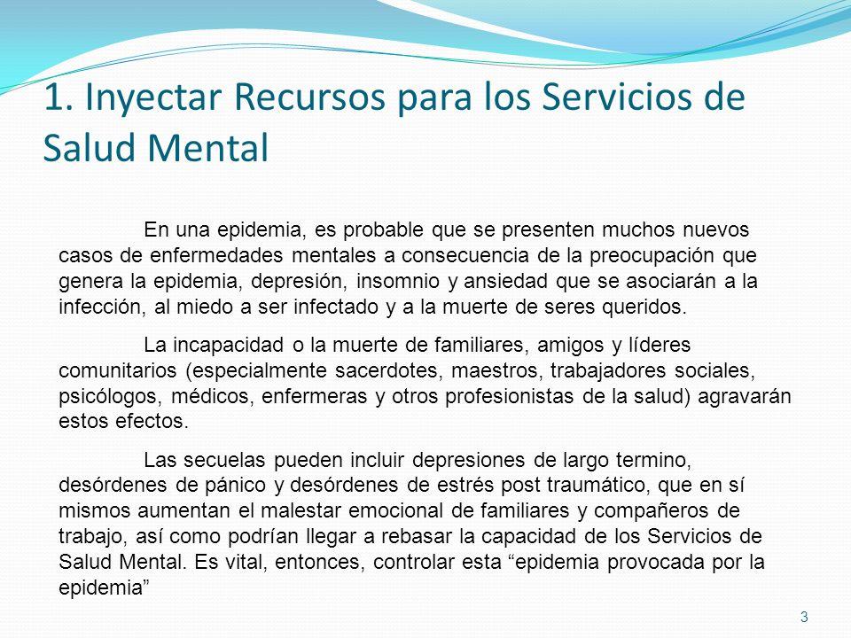1. Inyectar Recursos para los Servicios de Salud Mental