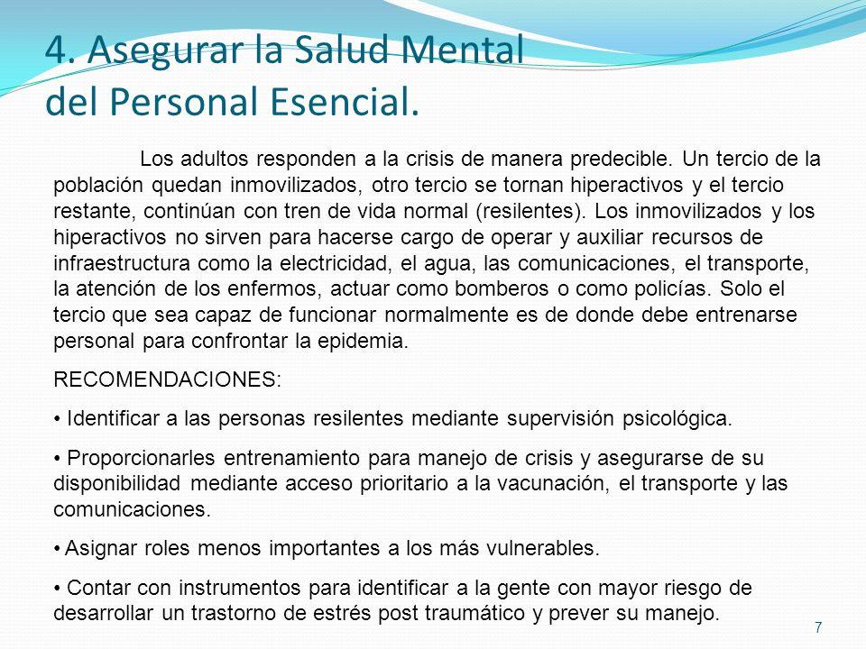 4. Asegurar la Salud Mental del Personal Esencial.