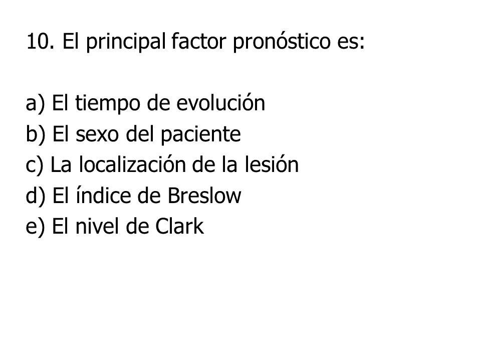 10. El principal factor pronóstico es: