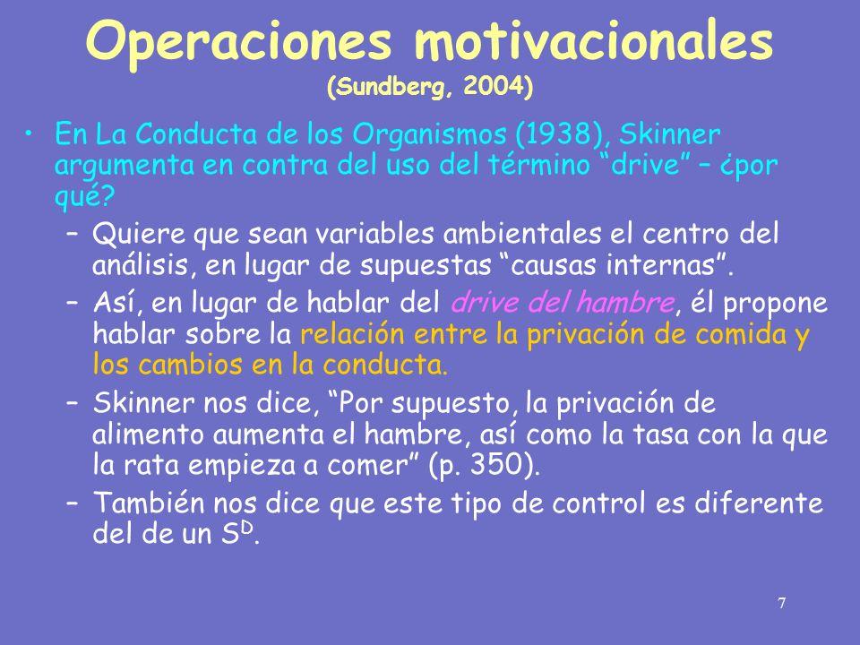 Operaciones motivacionales (Sundberg, 2004)