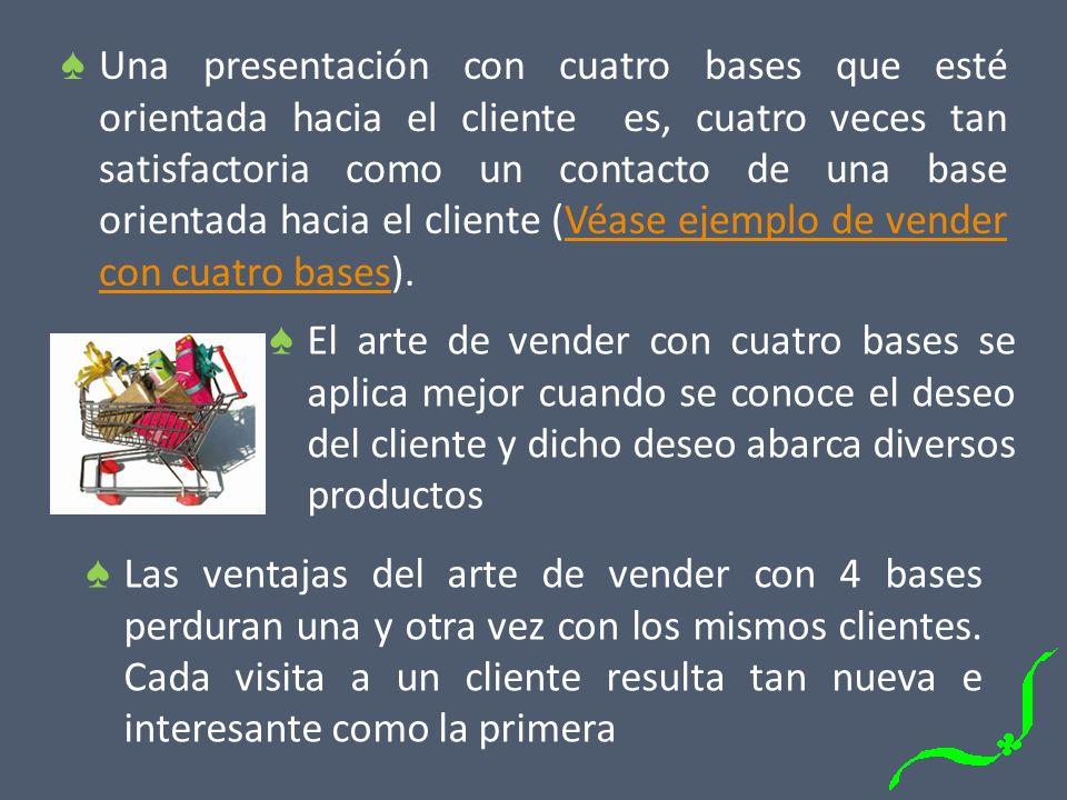 Una presentación con cuatro bases que esté orientada hacia el cliente es, cuatro veces tan satisfactoria como un contacto de una base orientada hacia el cliente (Véase ejemplo de vender con cuatro bases).