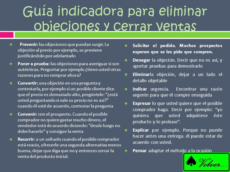 Guía indicadora para eliminar objeciones y cerrar ventas