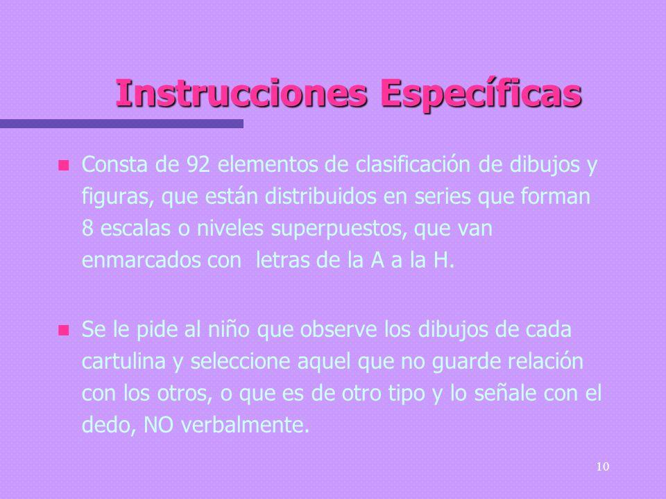 Instrucciones Específicas