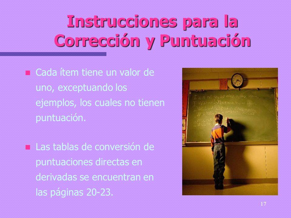 Instrucciones para la Corrección y Puntuación
