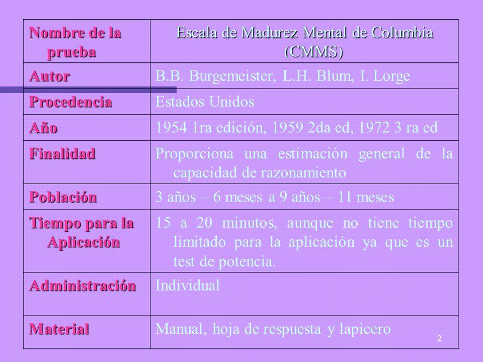Escala de Madurez Mental de Columbia (CMMS)