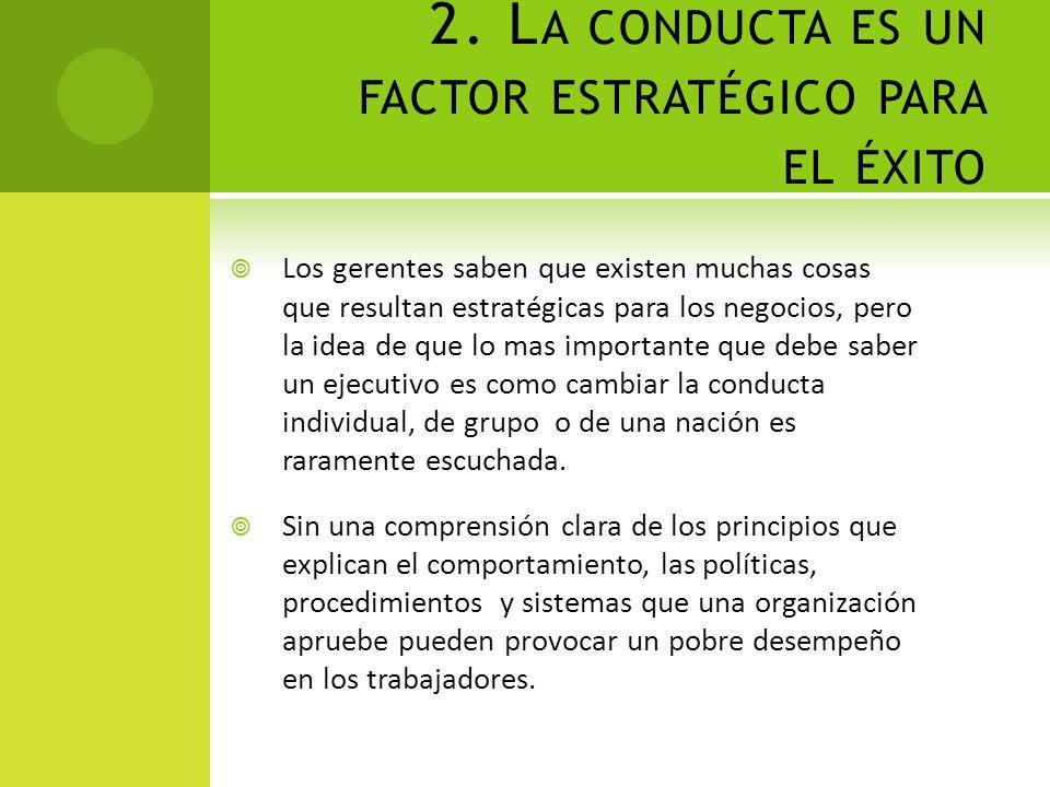 2. La conducta es un factor estratégico para el éxito