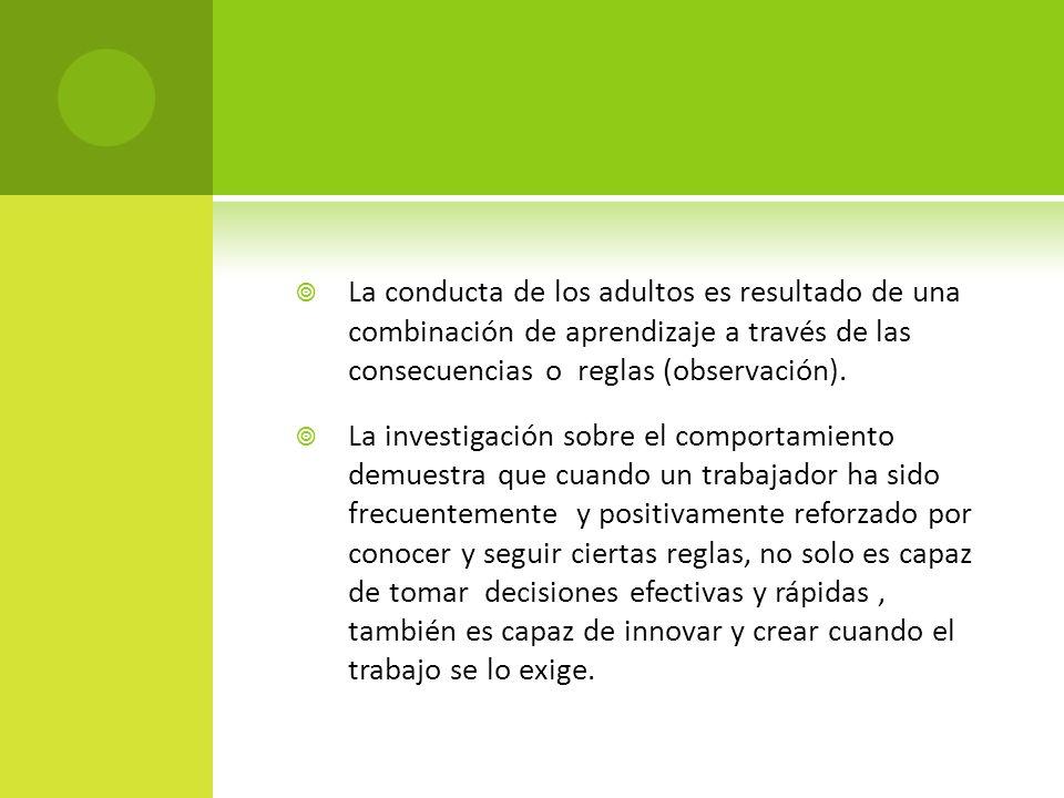 La conducta de los adultos es resultado de una combinación de aprendizaje a través de las consecuencias o reglas (observación).