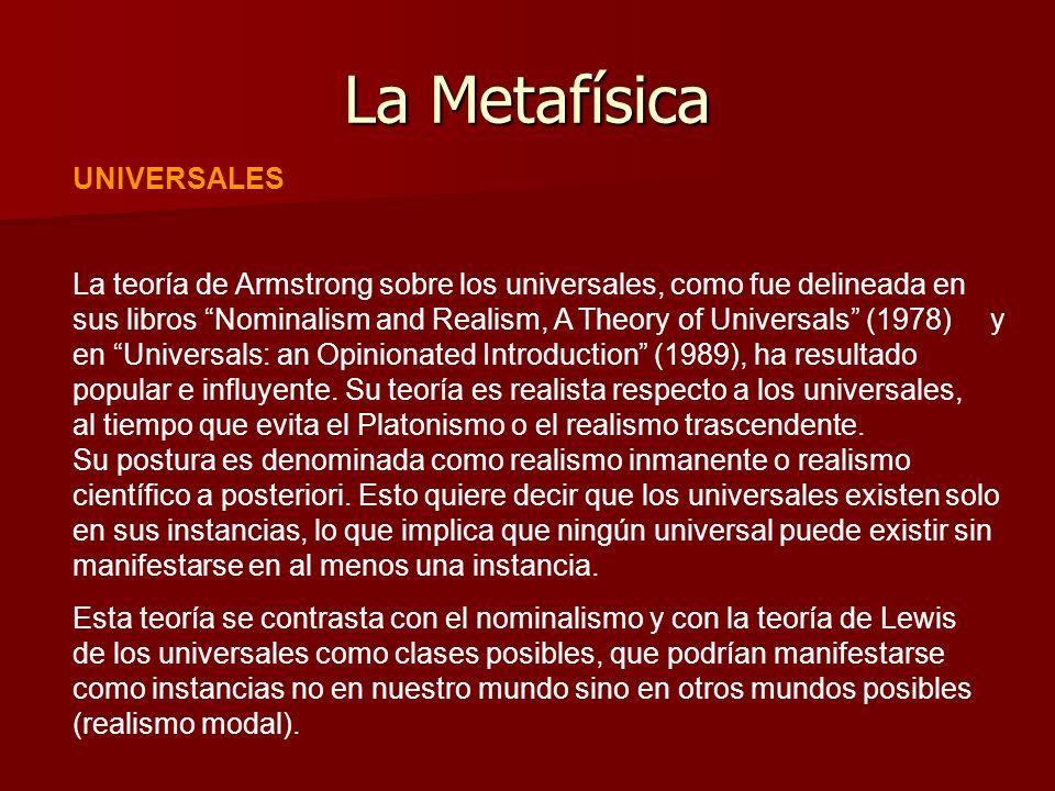 La Metafísica UNIVERSALES