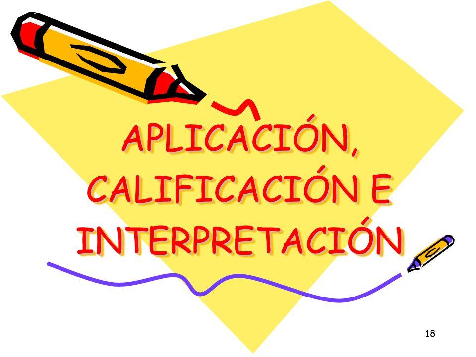 APLICACIÓN, CALIFICACIÓN E INTERPRETACIÓN