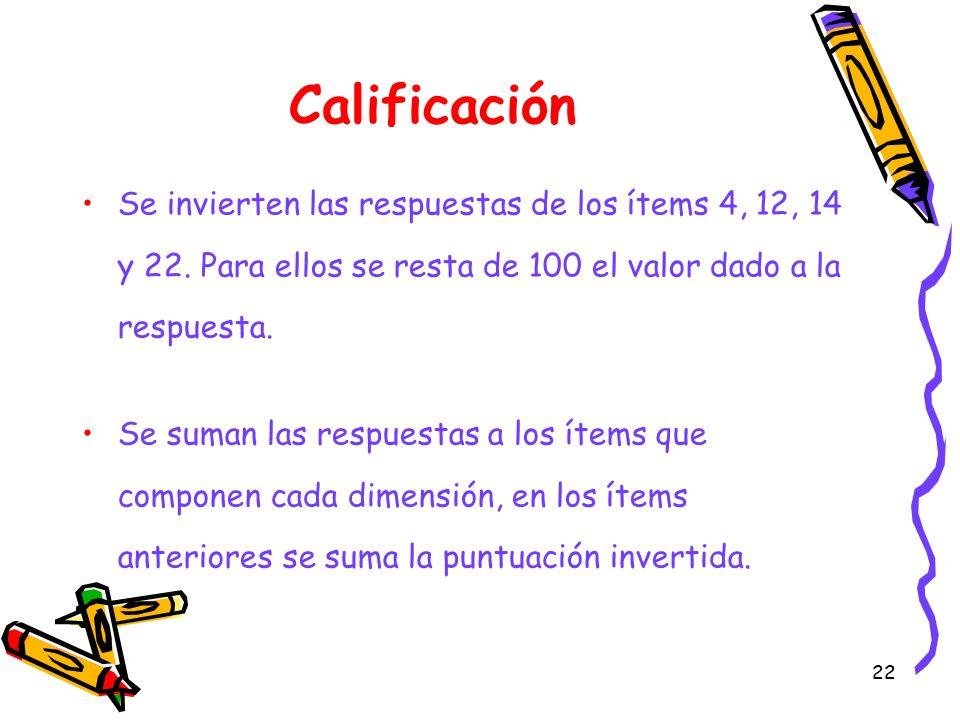Calificación Se invierten las respuestas de los ítems 4, 12, 14 y 22. Para ellos se resta de 100 el valor dado a la respuesta.