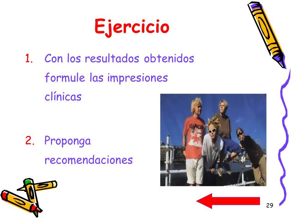 Ejercicio Con los resultados obtenidos formule las impresiones clínicas.