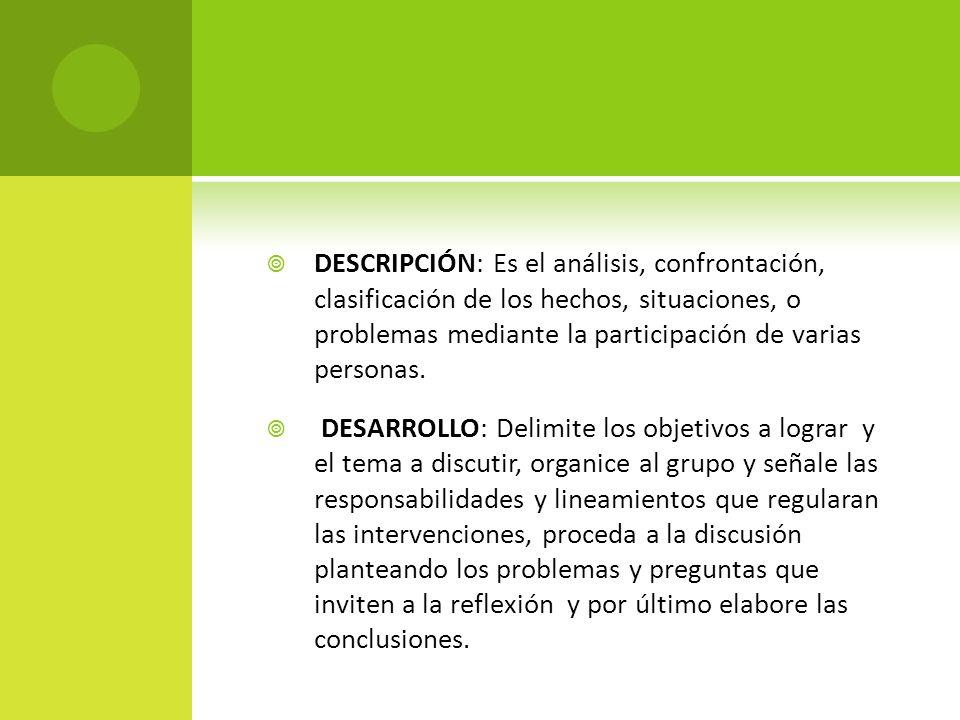 DESCRIPCIÓN: Es el análisis, confrontación, clasificación de los hechos, situaciones, o problemas mediante la participación de varias personas.