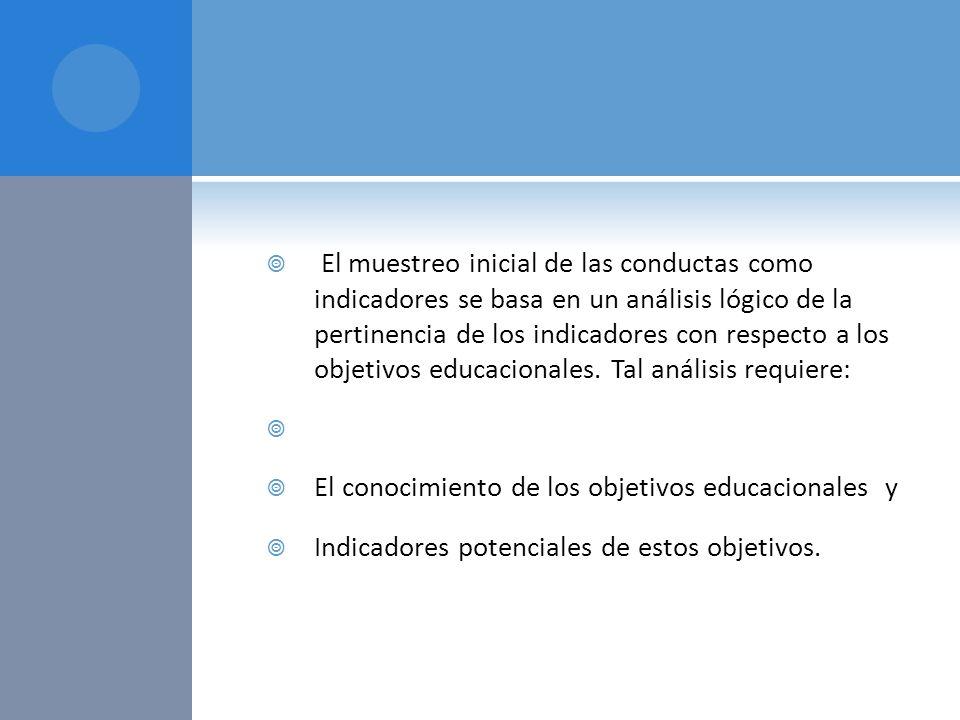 El muestreo inicial de las conductas como indicadores se basa en un análisis lógico de la pertinencia de los indicadores con respecto a los objetivos educacionales. Tal análisis requiere: