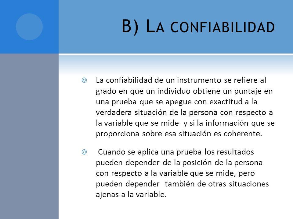 B) La confiabilidad