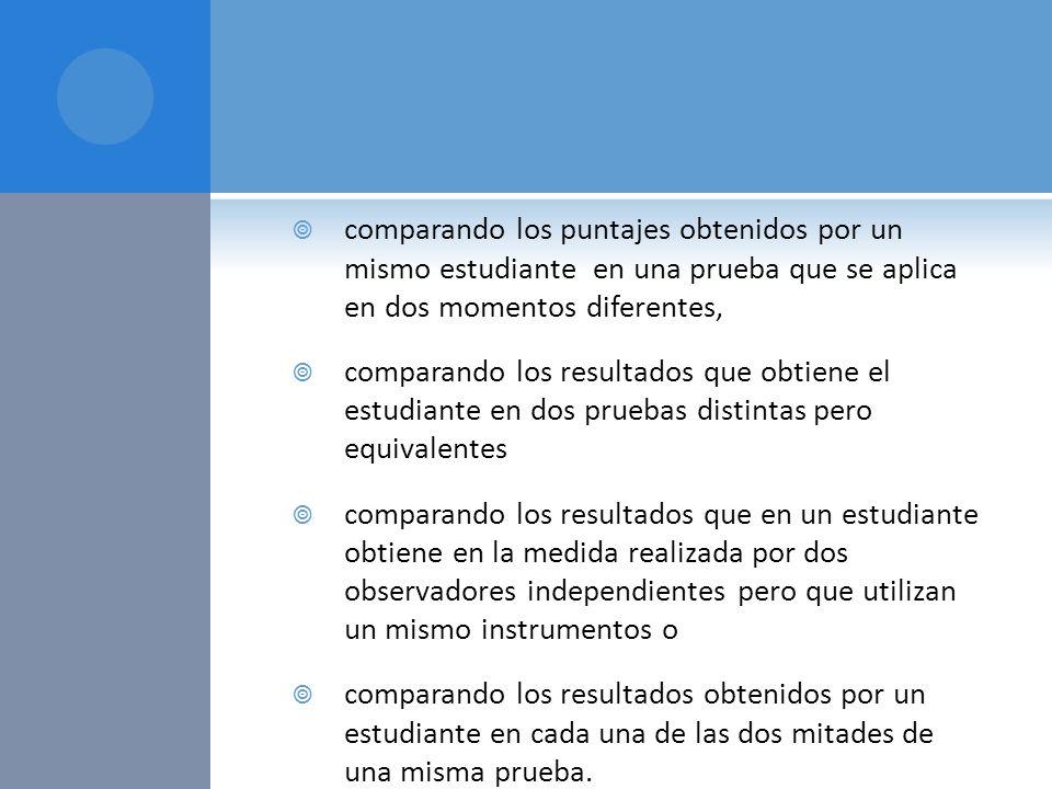 comparando los puntajes obtenidos por un mismo estudiante en una prueba que se aplica en dos momentos diferentes,