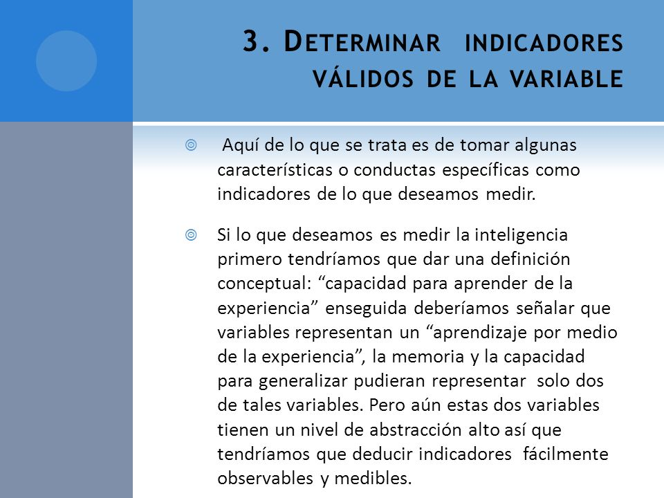3. Determinar indicadores válidos de la variable