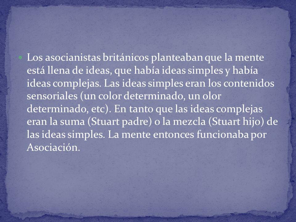Los asocianistas británicos planteaban que la mente está llena de ideas, que había ideas simples y había ideas complejas.