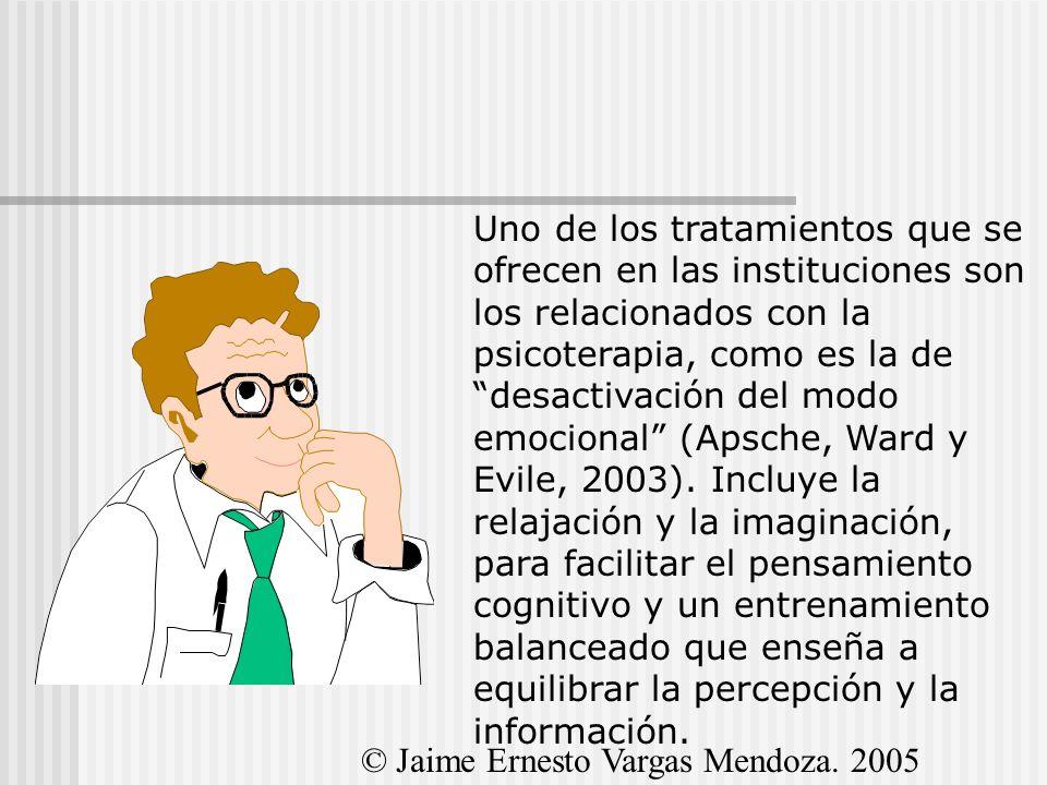 Uno de los tratamientos que se ofrecen en las instituciones son los relacionados con la psicoterapia, como es la de desactivación del modo emocional (Apsche, Ward y Evile, 2003). Incluye la relajación y la imaginación, para facilitar el pensamiento cognitivo y un entrenamiento balanceado que enseña a equilibrar la percepción y la información.