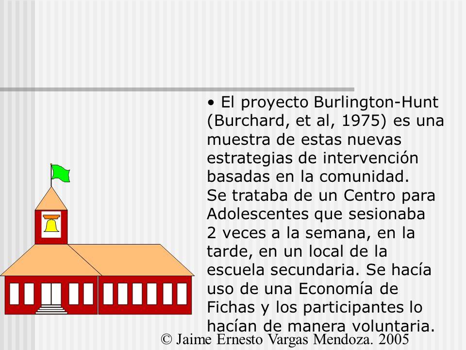 El proyecto Burlington-Hunt (Burchard, et al, 1975) es una muestra de estas nuevas estrategias de intervención basadas en la comunidad. Se trataba de un Centro para Adolescentes que sesionaba 2 veces a la semana, en la tarde, en un local de la escuela secundaria. Se hacía uso de una Economía de Fichas y los participantes lo hacían de manera voluntaria.