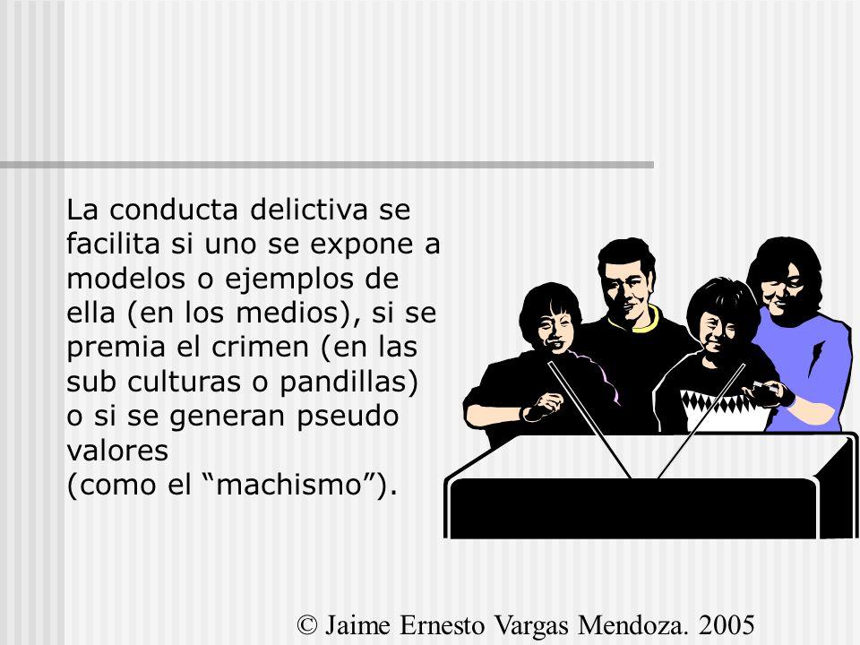 La conducta delictiva se facilita si uno se expone a modelos o ejemplos de ella (en los medios), si se premia el crimen (en las sub culturas o pandillas) o si se generan pseudo valores (como el machismo ).