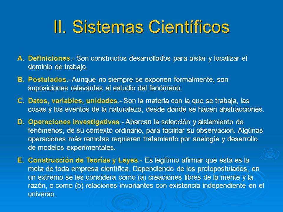 II. Sistemas Científicos