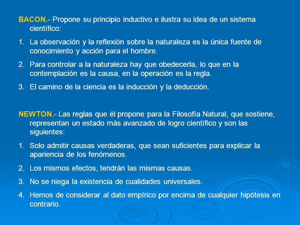 BACON.- Propone su principio inductivo e ilustra su idea de un sistema científico: