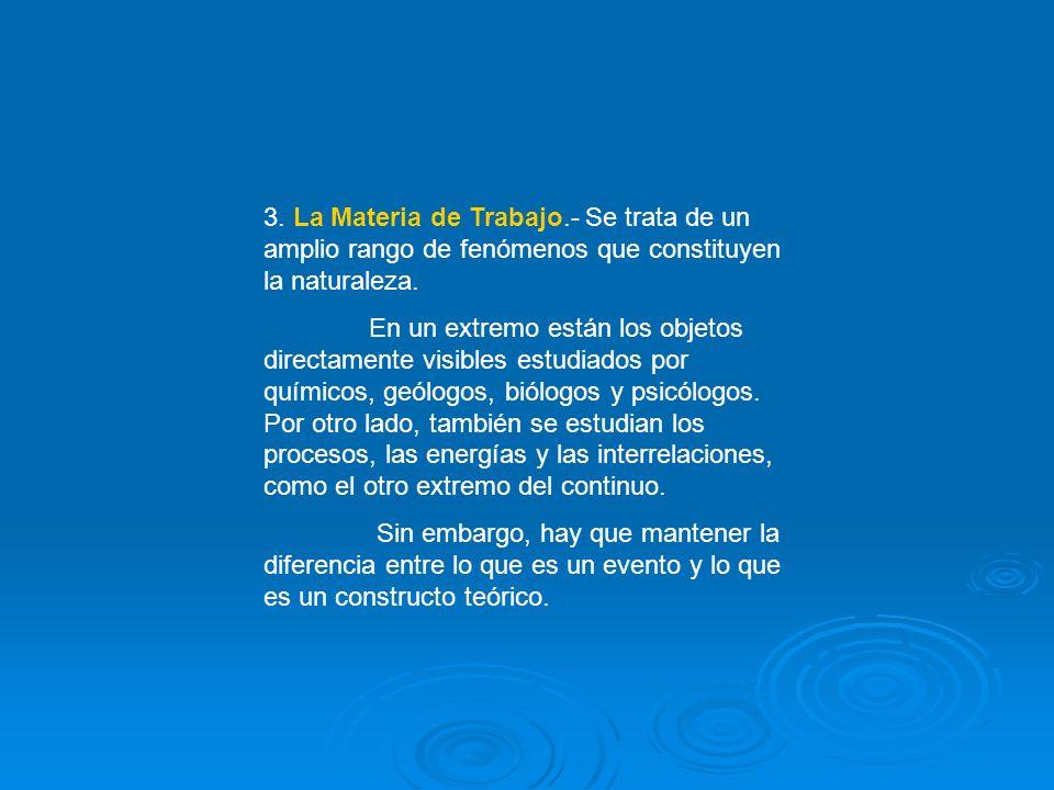 3. La Materia de Trabajo.- Se trata de un amplio rango de fenómenos que constituyen la naturaleza.